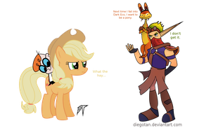 Applejack and Dexter vs Jak and Daxter by DiegoTan