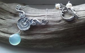 Mermaid Shell Aqua Chalcedony by QuintessentialArts