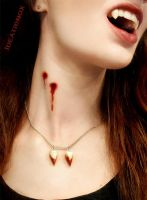Bloody Vampire Fangs Necklace by Ideationox