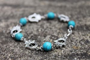 Hamsa and Turquoise Bracelet by Clerdy
