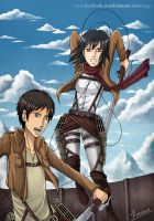 ATTACK ON TITAN - Eren and Mikasa by mangaka-Kim-chan