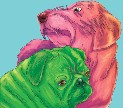 Pug and Dachshund popart by centuryslayer