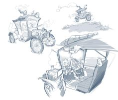 Sketch of professor's car by Tosello