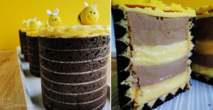 Joconde Imprime with Bumble Bee Mousse Entremet by cakecrumbs