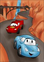 DC-Lightning McQueen and Sally (color) by vanillacoke-disney