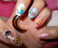 Sailor Moon Nail Art by LexCorp213