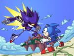 Sonic Vs Mecha Sonic by Daeron-Red-Fire