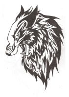 Angered Wolf Tribal by CrystalNori
