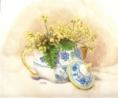 Teapot with Yellow Flowers by mbeckett