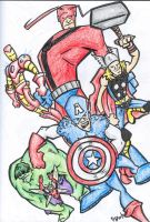 Avengers Assemble in Crayon by kjmarch
