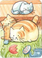 ACEO ATC Cats in the village by Siriliya