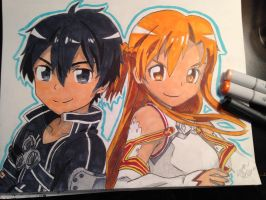 Kirito and Asuna by littlehappypanda