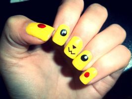 Pikachu Nails by BloodMoon3