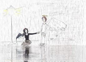 Angel helps demon... by Jaquina
