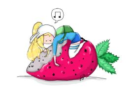 Fionna on a strawberry by Ranny-Corn