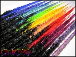 Rainbow Blend Synthetic Dreads by ChaotikFalls