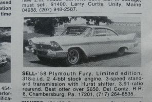 '58 Plymouth Fury for sale: $650 by finhead4ever