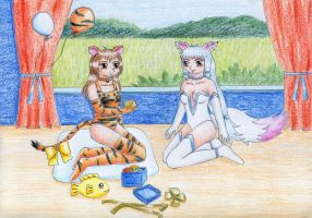 Tigra and Foxy for izka197 by NormaLeeInsane