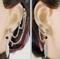 Feather Multiple Piercing Cartilage Chain Earrings by merigreenleaf