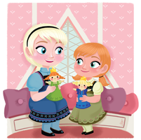 Little Anna and Elsa by Inehime