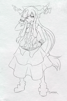 Ibuki Suika Sketch by Shark-kun00