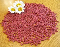 Traditional Pineapple Doily in Dusty Coral by doilydeas