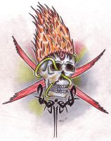 Flaming Skull by tattoo-parlour