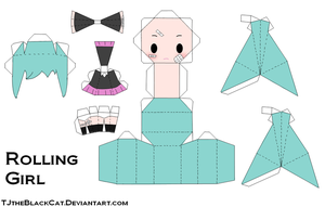 Miku Rolling Girl Papercraft by Tamuu-ii