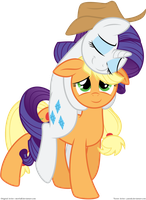 Rarity and Applejack by Yanoda