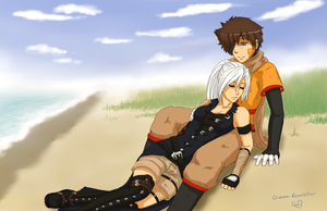 Resting on a beach by Crimson-Revelation