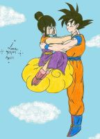 Son GokuXChiChi sad on Nimbus by hikari-chan1