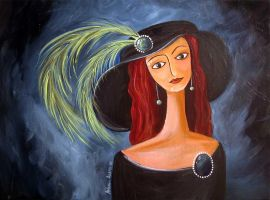woman with green feathers by themanda