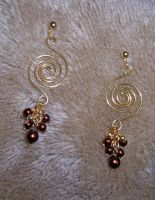 Brass spiral earrings by asukouenn