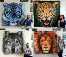 Large Animal Splatter Paintings by AtomiccircuS
