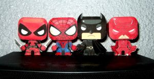 Superheroes Chibi Papercraft Papertoy by ValhallaAsgard