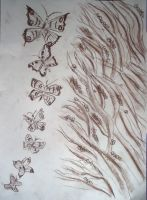 Sepia  butterflies by queenofthedamned96