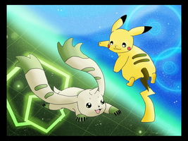 Terriermon and Pikachu by WeisseEdelweiss