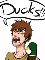 Pewdiepie and Ducks by oONekomataOo