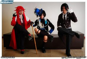 Grell, Ciel and Sebastian by cerezosdecamus