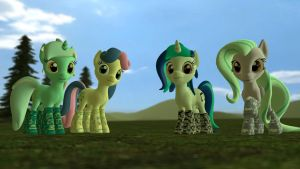 Character socks: Lyra, Bon Bon, Vinyl and Flitter by Legoguy9875
