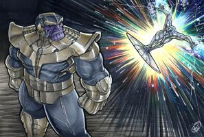 Thanos vs Silver Surfer by AdamWithers