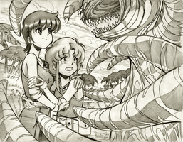 Patty and Rumy vs. Space Monster by Jinath