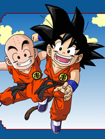 Goku and Krillin by eggmanrules
