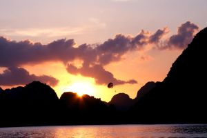 Ha Long Bay Vietnam at sunset by Loserbabooser