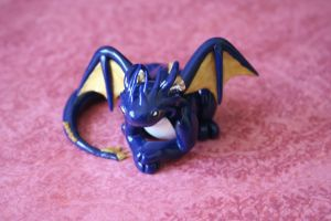 Dark Blue, White, and Gold Dragon by redninjacreations