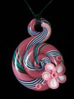 Pink and Blue Snail Pendant by Laurenry