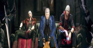 The powers of Sparda sit the sofa together by Hatredboy