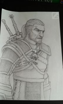 Geralt on paper (WIP) by Diegothic