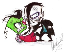 Zim and Dib Fight by jackfreak1994