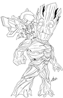 Rocket and Groot Chibi Inks by ConstantM0tion